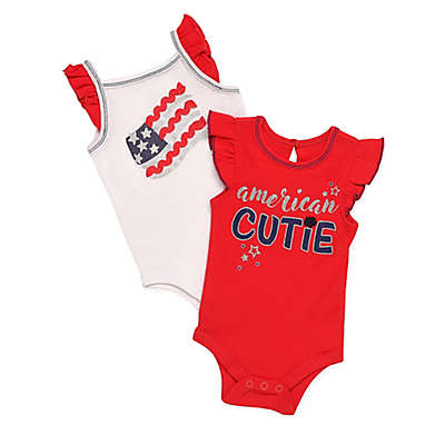 """Baby Starters® 2-Pack """"American Cutie"""" Bodysuits in Red"""