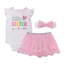 Start-Up Kids® 3-Piece Little Sister Bodysuit, Tutu and Headband Set in White