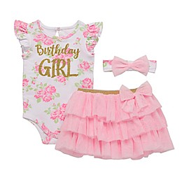 Start-Up Kids® 3-Piece Birthday Girl Bodysuit, Tutu and Headband Set in Pink