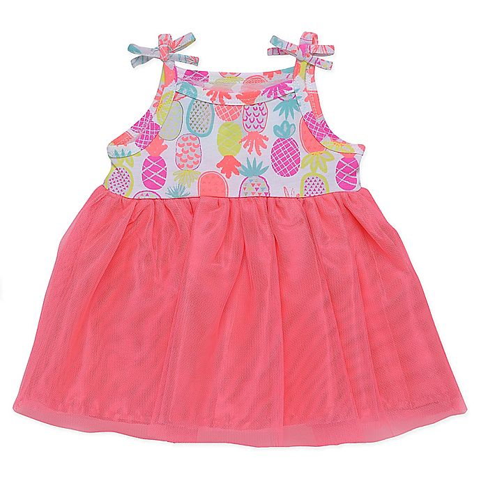 Alternate image 1 for Baby Starters® Pineapple Dress with Attached Bodysuit in Pink