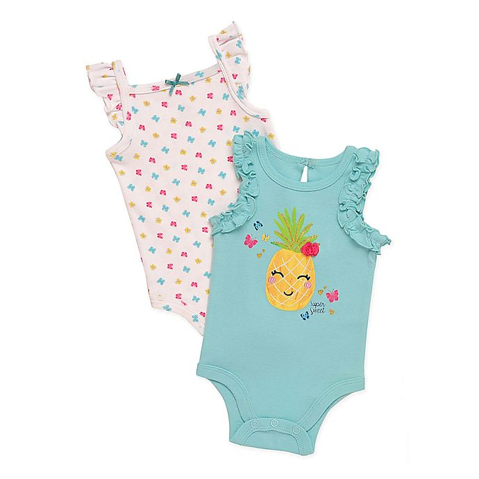 Alternate image 1 for Baby Starters® 2-Pack Pineapple Bodysuits in Aqua