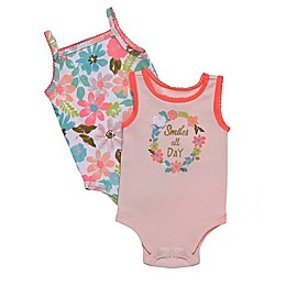 Baby Starters® 2-Pack Smile All Day Sleeveless Bodysuits in Pink