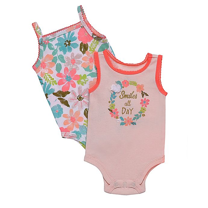 Alternate image 1 for Baby Starters® 2-Pack Smile All Day Sleeveless Bodysuits in Pink