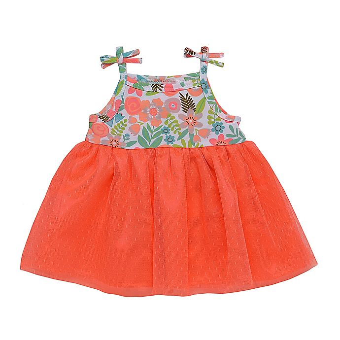 Alternate image 1 for Baby Starters® Jungle Dress with Attached Bodysuit in Coral Pink