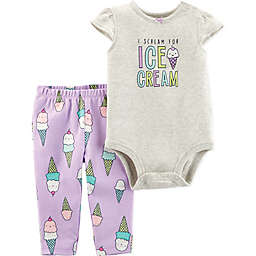 carter's® 2-Piece Ice Cream Bodysuit and Pant Set in Grey