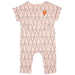 ED Ellen DeGeneres Short Sleeve Sketch Hearts Romper in Pink