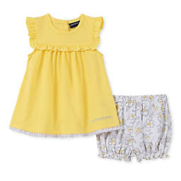 Calvin Klein 2-Piece Pointelle Ruffle Shirt and Diaper Cover Set