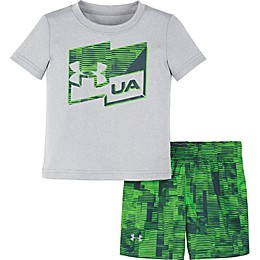 Under Armour® 2-Piece Zap Shirt and Short Set in Green/Grey