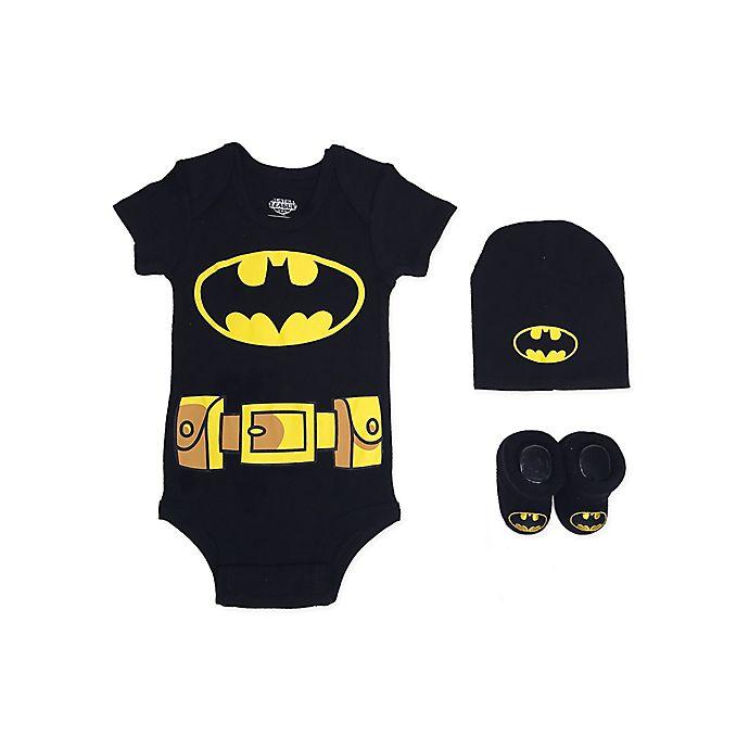 Alternate image 1 for Warner Bros.® Batman Justice League Size 0-6M 3-Piece Bodysuit Set in Black