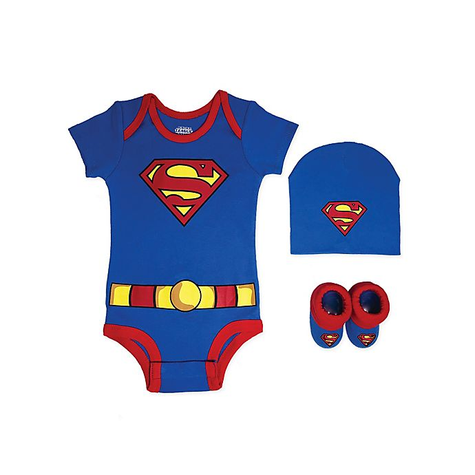 Alternate image 1 for Warner Bros.® Superman Justice League Size 0-6M 3-Piece Bodysuit Set in Blue