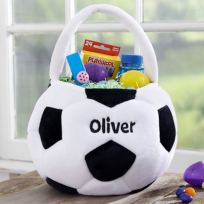 Alternate image 1 for Soccer Ball Embroidered Easter Treat Bag
