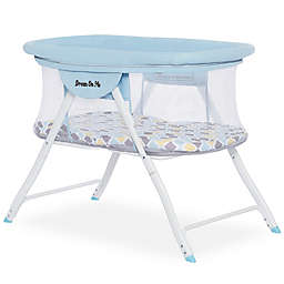 Dream On Me Poppy Portable Bassinet in Blue/Brown