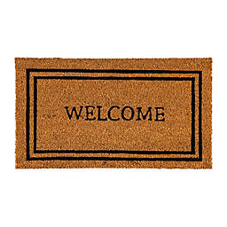 "Evergreen Welcome Border 28"" X 16"" Coir Door Mat Insert in Black"