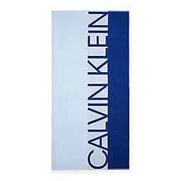 Calvin Klein Iconic Logo Beach Towel in Light Blue/Cobalt