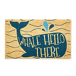 "Design Imports Whale Hello 18"" x 30"" Coir Door Mat in Blue"