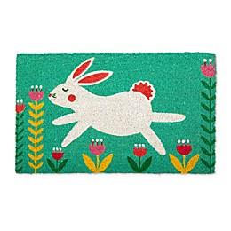 """Design Imports Bunny Folk 18"""" x 30"""" Coir Door Mat in Turquoise"""