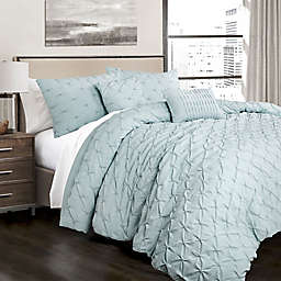 Lush Decor Ravello Pintuck 5-Piece King Comforter Set in Blue