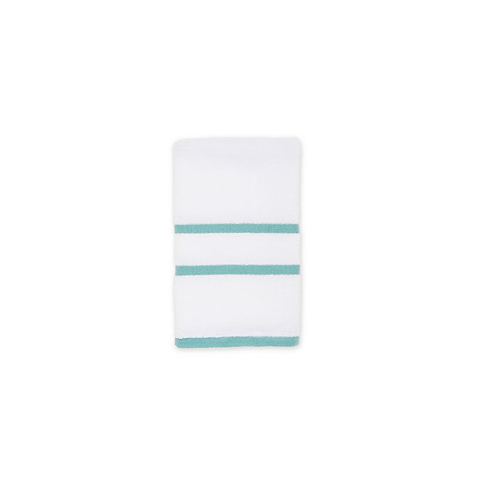 Alternate image 1 for American Craft Made in the USA Hand Towel in White/Aqua