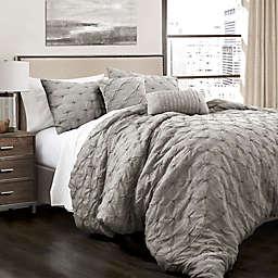Lush Decor Ravello Pintuck 5-Piece Full/Queen Comforter Set in Grey