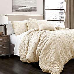 Lush Decor Ravello Pintuck 5-Piece King Comforter Set in Ivory