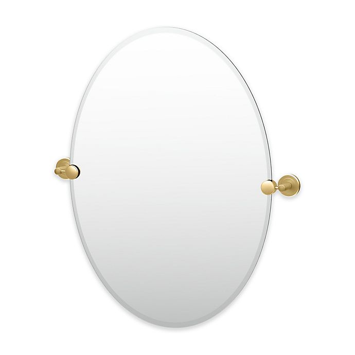 Alternate image 1 for Gatco® Latitude II 26.5-Inch x 24-Inch Oval Mirror in Brushed Brass