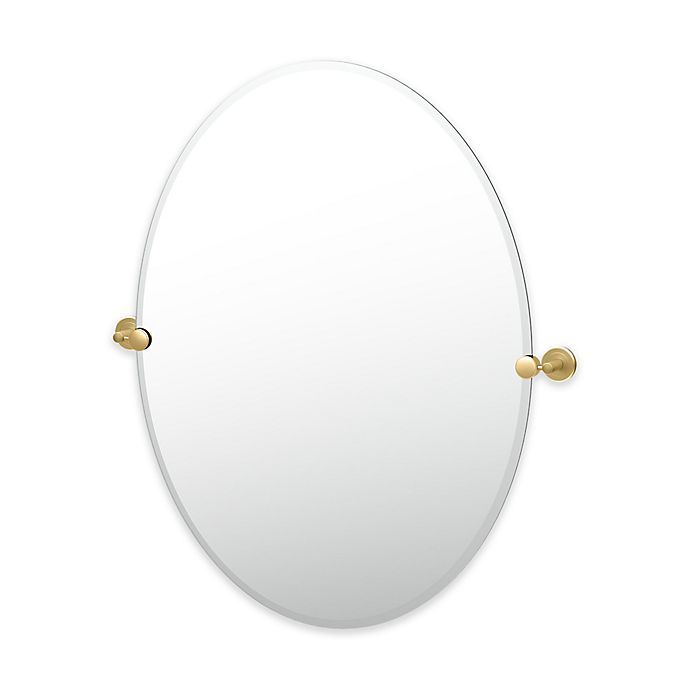 Alternate image 1 for Gatco® Latitude II 32-Inch x 28.5-Inch Oval Mirror in Brushed Brass