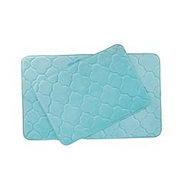 VCNY Home Kaydence Memory Foam 2-Piece Bath Mat Set in Aqua