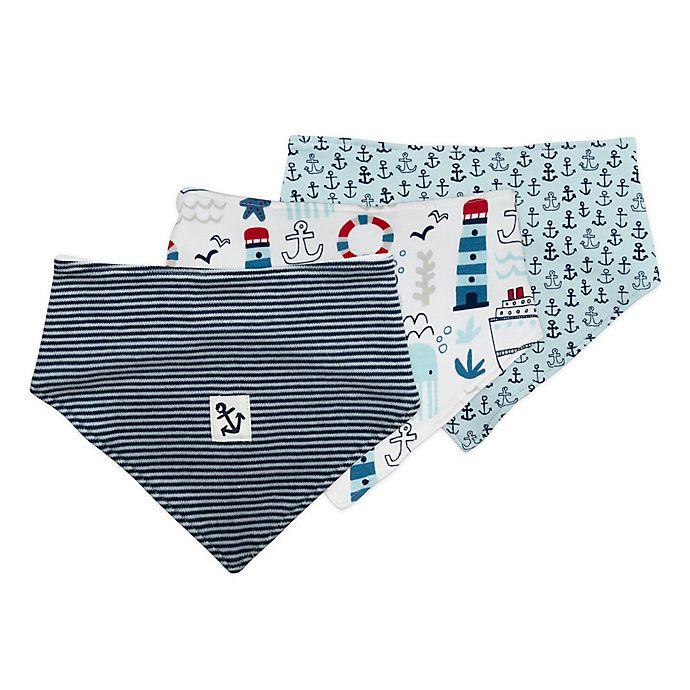 Alternate image 1 for Mac & Moon 3-Pack Nautical Bandana Bibs