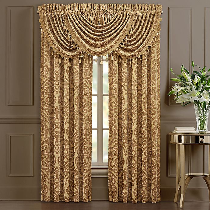 J Queen New York Sicily 2 Pack 84 Inch Rod Pocket Window Curtain In Gold Bed Bath Beyond