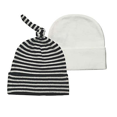 NYGB™ 2-Pack Striped and Solid Knit Hats in Black