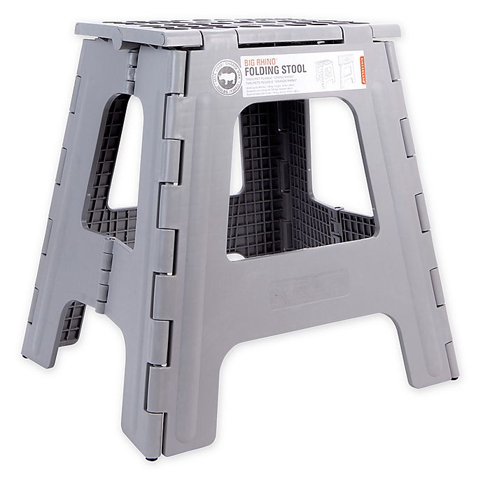 Phenomenal Rhino Ii Tall Folding Step Stool In Grey Bed Bath Beyond Unemploymentrelief Wooden Chair Designs For Living Room Unemploymentrelieforg