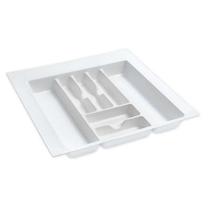 Alternate image 1 for Rev-A-Shelf 21.25-Inch x 21.25-Inch Trimmable Cutlery Drawer Organizer in White