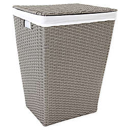 ORG Poly-Rattan Tapered Rectangular Hamper in Grey/Light Grey