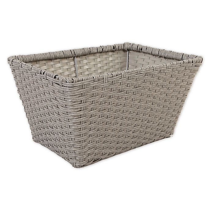 Alternate image 1 for ORG Medium Poly-Rattan Tapered 12.5-Inch Storage Basket in Grey/Light Grey