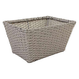 ORG Medium Poly-Rattan Tapered 12.5-Inch Storage Basket in Grey/Light Grey