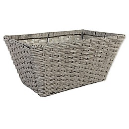 ORG Large Poly-Rattan Tapered 14.5-Inch Storage Basket in Grey/Light Grey