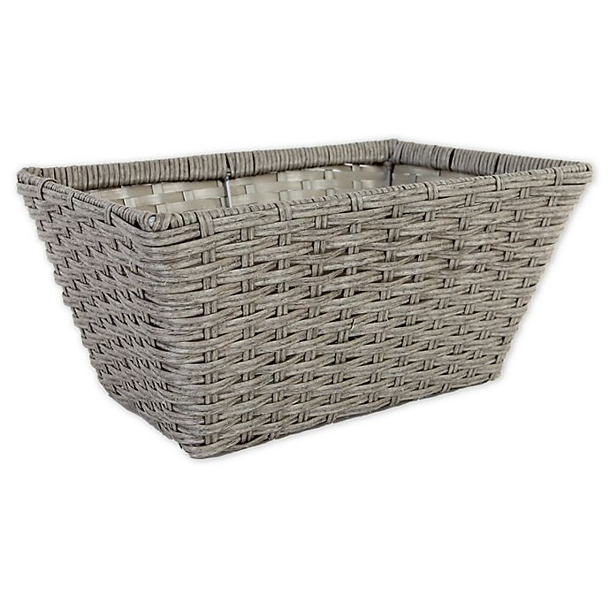 Alternate image 1 for ORG Large Poly-Rattan Tapered 14.5-Inch Storage Basket in Grey/Light Grey