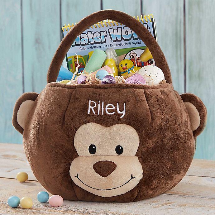 Alternate image 1 for Monkey Embroidered Easter Treat Bag