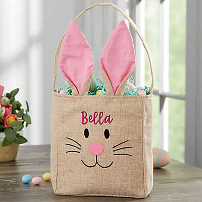 Bunny Face Personalized Burlap Easter Treat Bag in Pink