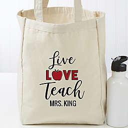 Live Love Teach Personalized Small Teacher Canvas Tote Bag