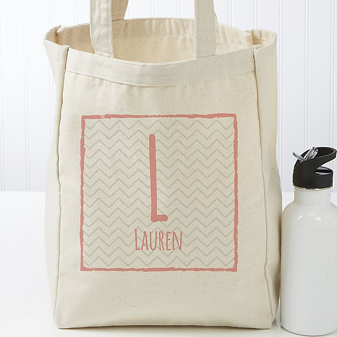 Alternate image 1 for Her Name Statement Personalized Large Canvas Tote Bag