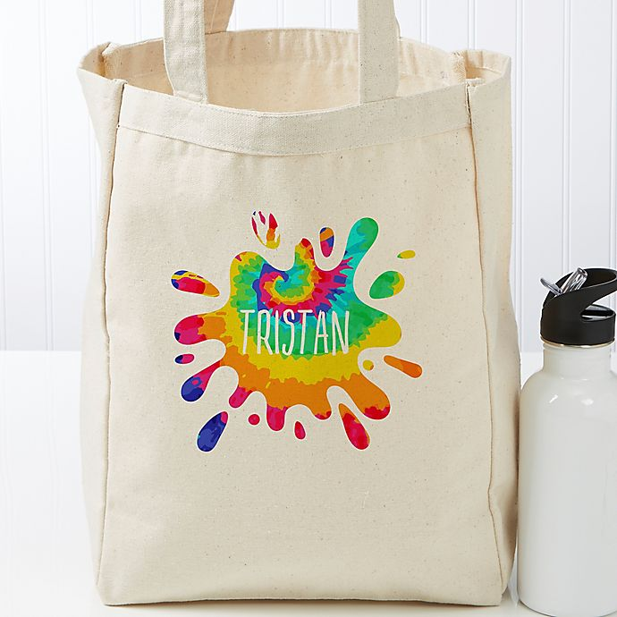 Alternate image 1 for Tie-Dye Fun Personalized Small Canvas Beach Bag