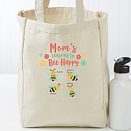 Bee Happy Personalized Small Canvas Tote Bag