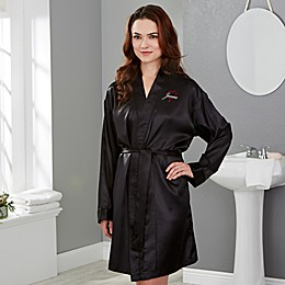 Just for Her Heart Satin Robe in Black