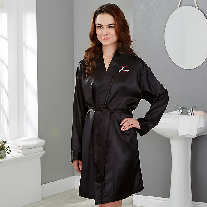 Alternate image 1 for Just for Her Heart Satin Robe in Black