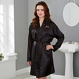 Just for Her Heart Satin Robe in Black e9a4c53ab