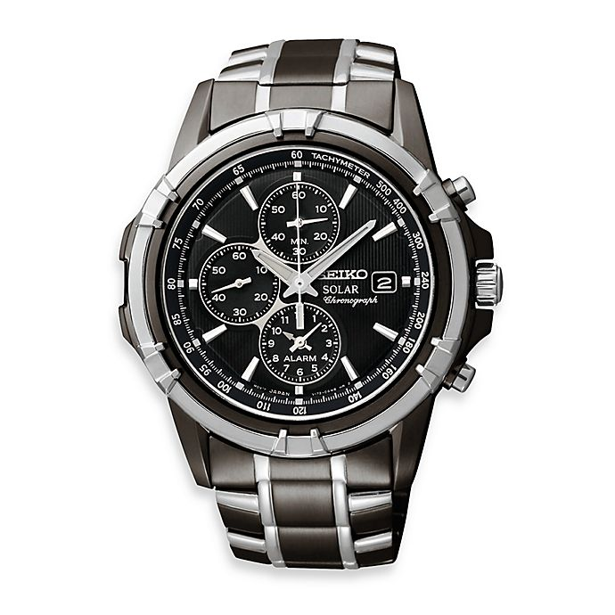 b35000170 Seiko Men's Solar Black Dial Two-Tone Dress Sport Stainless Steel Watch