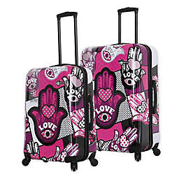 Mia Toro ITALY Hamsa Love Monochrome Hardside Spinner Checked Luggage