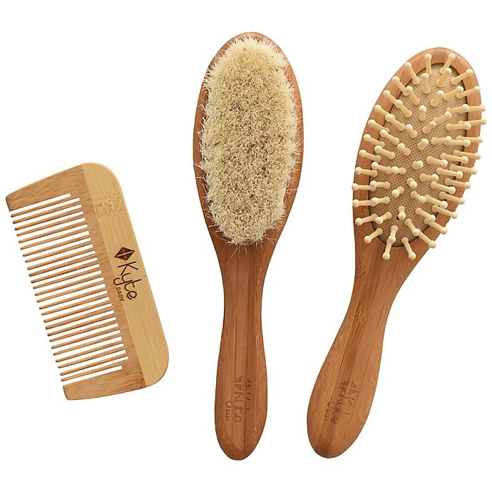 Alternate image 1 for Kyte BABY 3-Piece Hair Brush and Comb Set in Brown