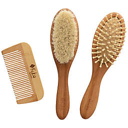 Kyte BABY 3-Piece Hair Brush and Comb Set in Brown